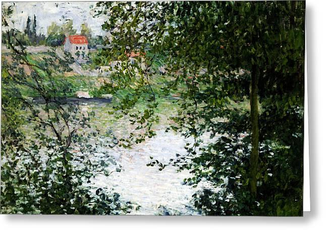 La Grande Jatte Greeting Cards - Ile de La Grande Jatte Through the Trees Greeting Card by Claude Monet