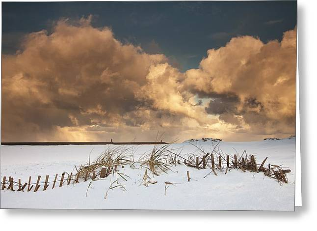 Worn In Greeting Cards - Illuminated Clouds Glowing Above A Greeting Card by John Short