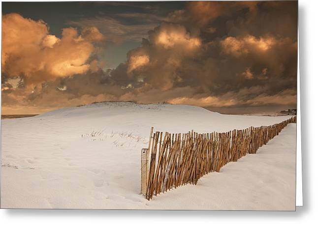 Illuminated Clouds Glowing Over A Snow Greeting Card by John Short