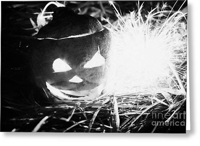 Illuminated Halloween Turnip Jack-o-lantern With Sparkler To Ward Off Evil Spirits Greeting Card by Joe Fox