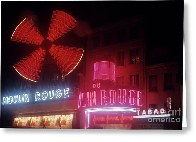 Quartier Greeting Cards - Illuminated neon signs of the Moulin Rouge Greeting Card by Sami Sarkis