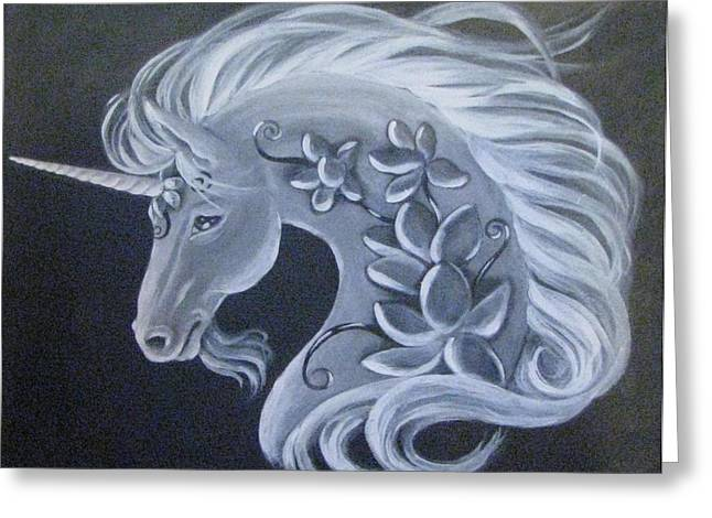Black Unicorn Greeting Cards - Illuminated Unicorn Greeting Card by Radha Flora Cloud