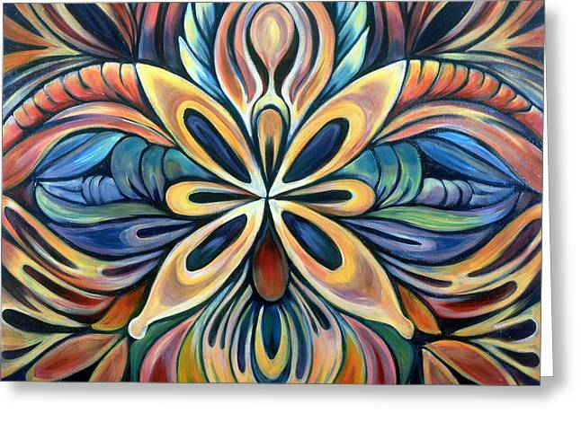 Mandala Paintings Greeting Cards - Illumination Greeting Card by Shadia Zayed