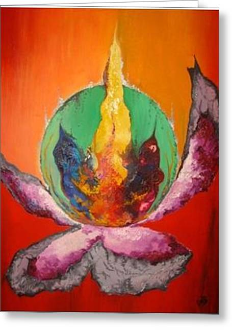 Oil Lamp Mixed Media Greeting Cards - Illusions Greeting Card by Linda Ferreira