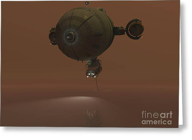 Exploitation Digital Art Greeting Cards - Illustration Of A Blimp Towing A Sensor Greeting Card by Walter Myers