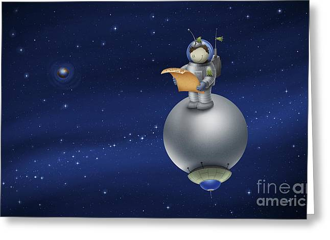 Graphite Digital Greeting Cards - Illustration Of A Cartoon Astronaut Greeting Card by Vlad Gerasimov