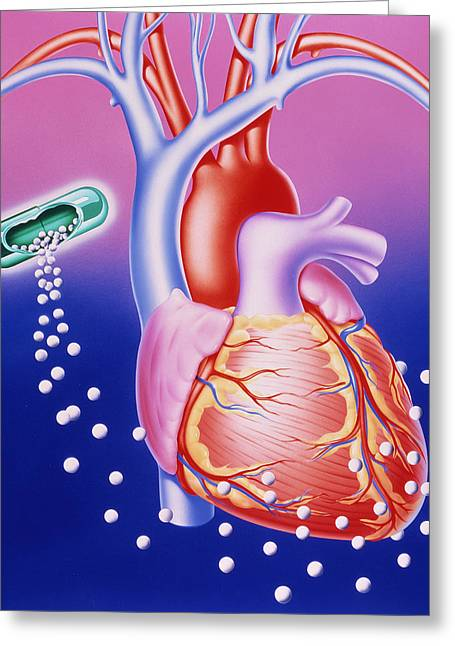 Heart Disease Greeting Cards - Illustration Of A Drug Dissolving Around The Heart Greeting Card by John Bavosi