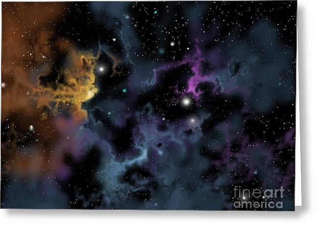 Starforming Greeting Cards - Illustration Of A Gaseous Nebula Greeting Card by Ron Miller