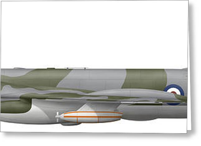 Vector Image Greeting Cards - Illustration Of A Handley Page Victor Greeting Card by Chris Sandham-Bailey