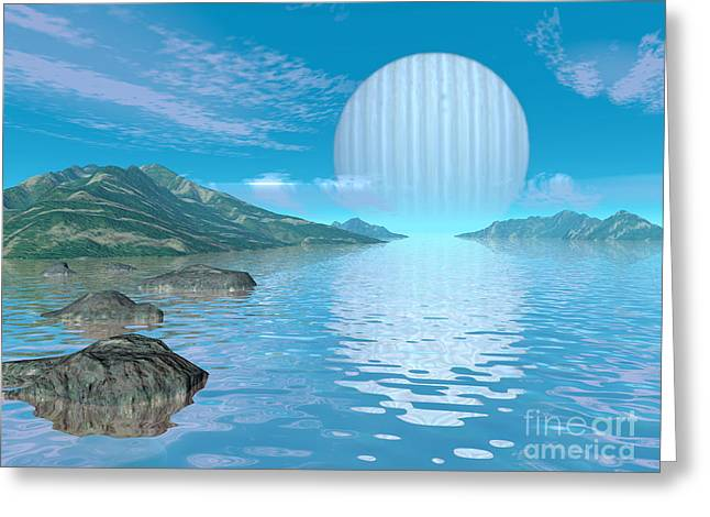 Ocean Vista Digital Art Greeting Cards - Illustration Of A Hypothetical Idyllic Greeting Card by Walter Myers