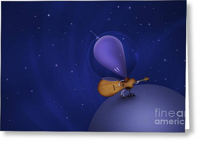 Playing Musical Instruments Greeting Cards - Illustration Of A Martian Playing Greeting Card by Vlad Gerasimov