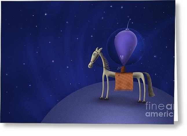 Graphite Digital Art Greeting Cards - Illustration Of A Martian Riding Greeting Card by Vlad Gerasimov