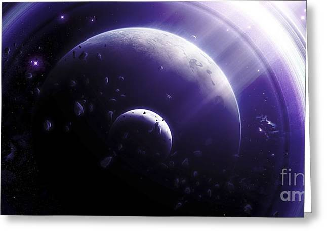 Luminous Globe Greeting Cards - Illustration Of A Ringed-planet Viewed Greeting Card by Kevin Lafin