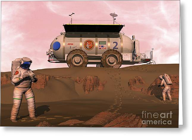 Adults Only Digital Art Greeting Cards - Illustration Of Astronauts Examining An Greeting Card by Walter Myers