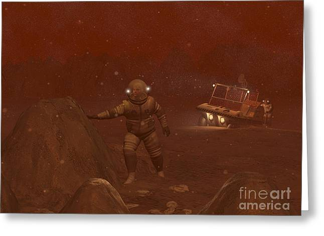 Snowstorm Digital Art Greeting Cards - Illustration Of Astronauts Exploring Greeting Card by Walter Myers