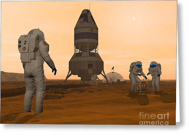 Adults Only Digital Art Greeting Cards - Illustration Of Astronauts Setting Greeting Card by Walter Myers