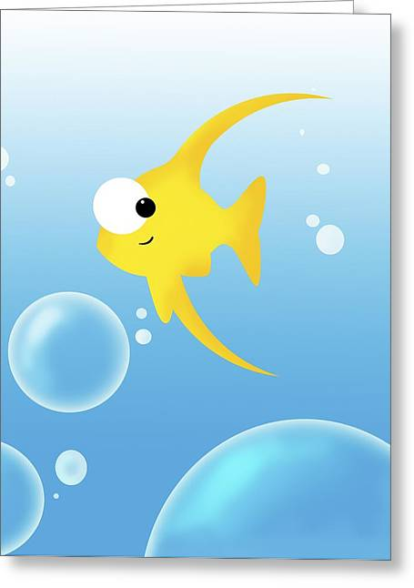 Computer Graphics Greeting Cards - Illustration Of Fish And Bubbles Greeting Card by Chris Knorr