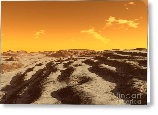 Illustration Of Terraced Terrain Greeting Card by Ron Miller