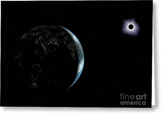 Solar Eclipse Digital Greeting Cards - Illustration Of The City Lights Greeting Card by Walter Myers