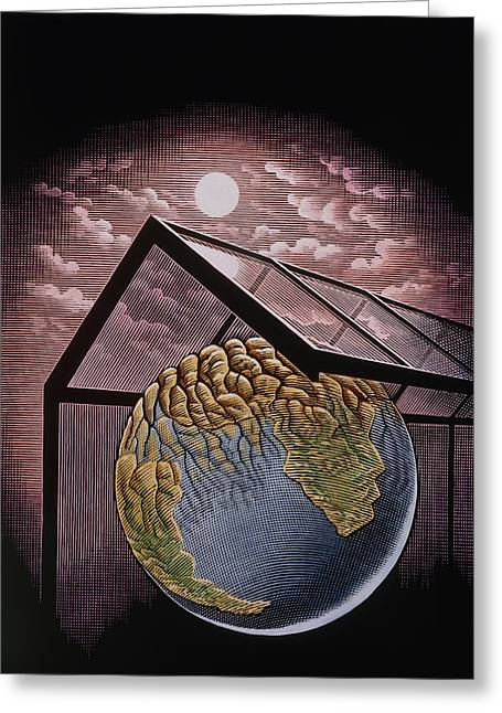 Greenhouse Effect Greeting Cards - Illustration Of The Greenhouse Effect Greeting Card by Bill Sanderson