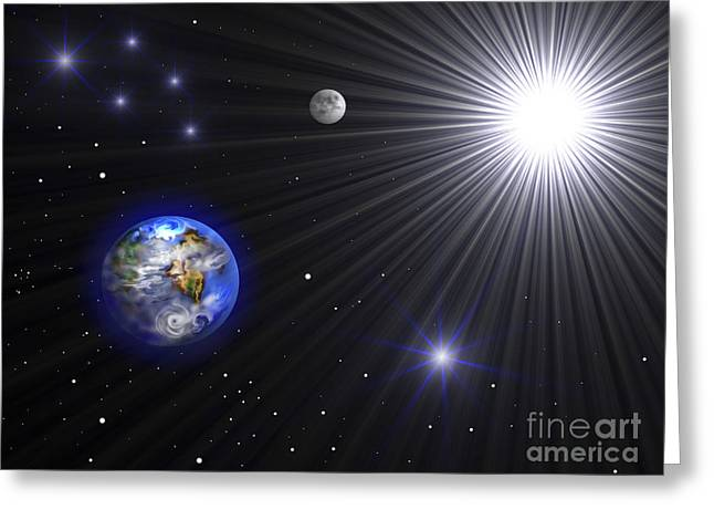 Luminous Globe Greeting Cards - Illustration Showing Planet Earth Greeting Card by Miguel Claro