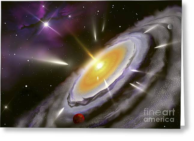 Jet Star Digital Art Greeting Cards - Illustration Showing The Formation Greeting Card by Miguel Claro