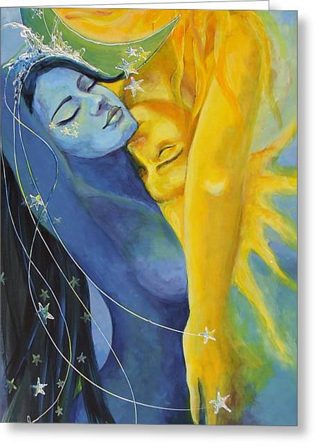 Celestial Paintings Greeting Cards - Ilusion from Impossible Love series Greeting Card by Dorina  Costras