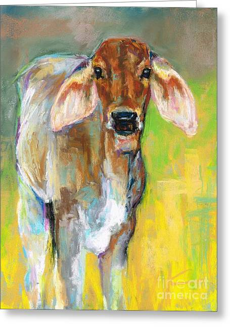 Cattle Pastels Greeting Cards - Im All Ears Greeting Card by Frances Marino