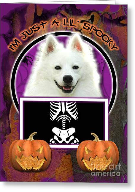 Canine Greeting Cards - Im Just a Lil Spooky American Eskimo Greeting Card by Renae Laughner