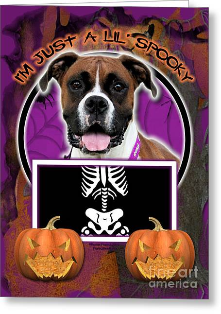 Boxer Greeting Cards - Im Just a Lil Spooky Boxer Greeting Card by Renae Laughner