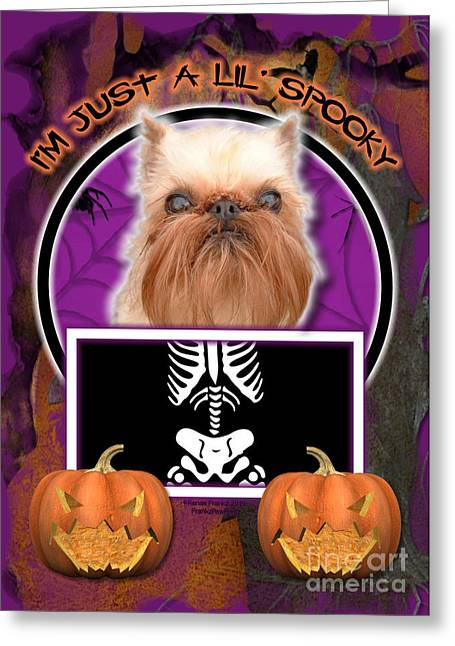 Dog Greeting Cards - Im Just a Lil Spooky Brussels Griffon Greeting Card by Renae Laughner