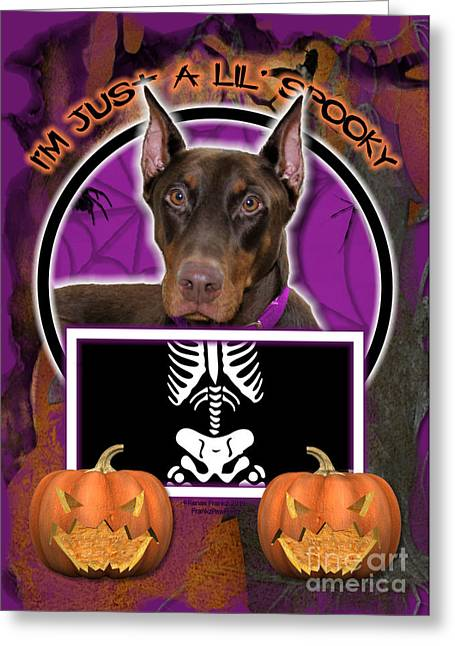 Doby Greeting Cards - Im Just a Lil Spooky Doberman Greeting Card by Renae Laughner