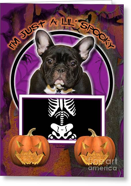 Pet Greeting Cards - Im Just a Lil Spooky French Bulldog Greeting Card by Renae Laughner