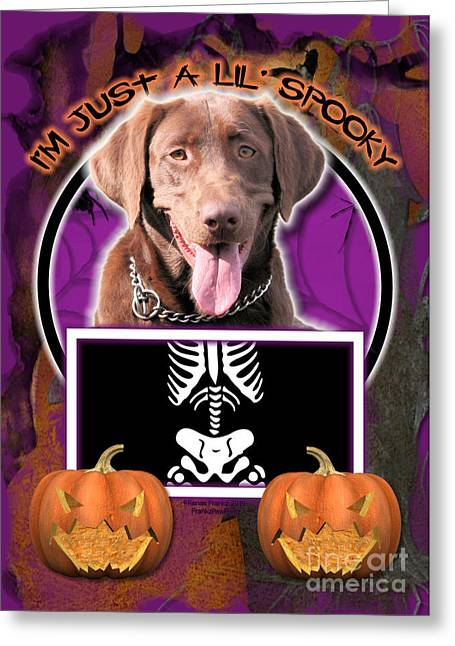 Chocolate Lab Greeting Cards - Im Just a Lil Spooky Labrador Greeting Card by Renae Laughner