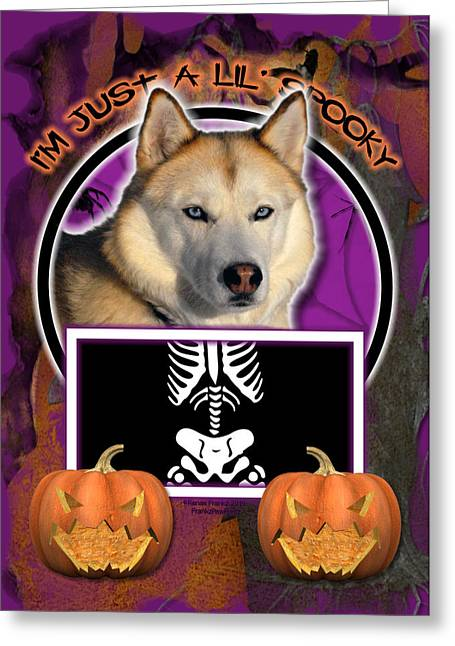I'm Just A Lil' Spooky Siberian Husky Greeting Card by Renae Laughner