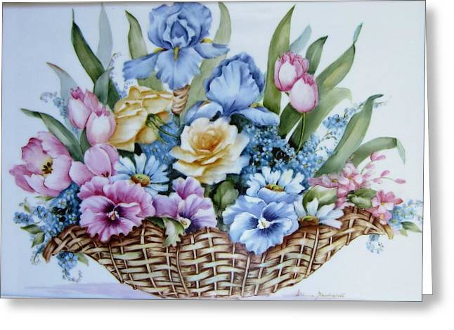 Hand Painted Porcelain Ceramics Greeting Cards - Image 1119 flower basket Greeting Card by Wilma Manhardt