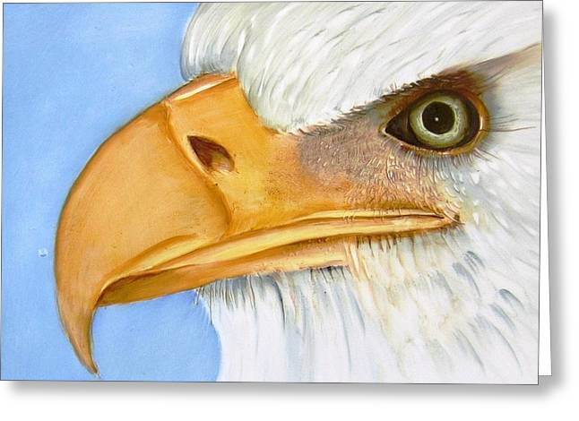 Bold Ceramics Greeting Cards - Image 1147b Bold Eagle 1 Greeting Card by Wilma Manhardt