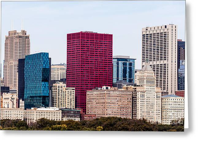 Santa Fe Greeting Cards - Image of Downtown Chicago City Office Buildings Greeting Card by Paul Velgos
