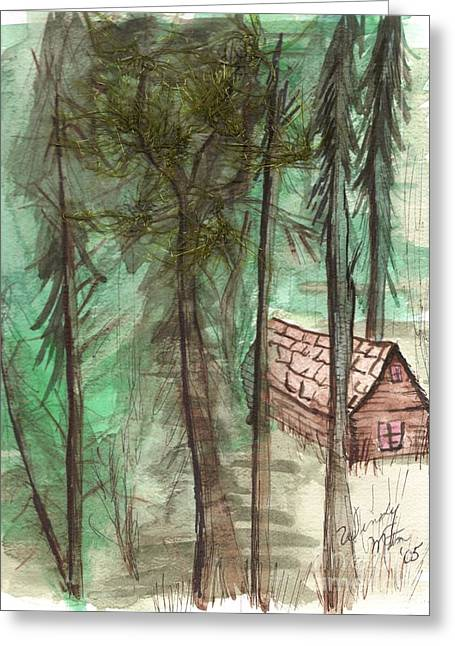 Mountain Cabin Drawings Greeting Cards - Imaginary Cabin Greeting Card by Windy Mountain