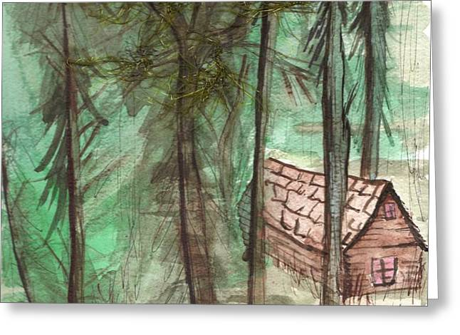 Imaginary Cabin Greeting Card by Windy Mountain