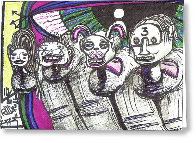 Raw Contemporary Graffiti Greeting Cards - Imaginary Friends Greeting Card by Robert Wolverton Jr