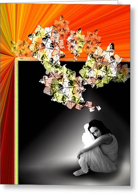 Floating Girl Greeting Cards - Imagination Greeting Card by Anna Z