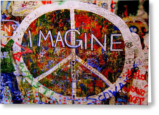 Peace Symbol Greeting Cards - Imagine Peace Greeting Card by Tam Graff