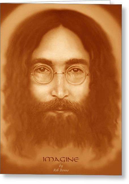 John Lennon Art Drawings Greeting Cards - Imagine Greeting Card by Reb Benno
