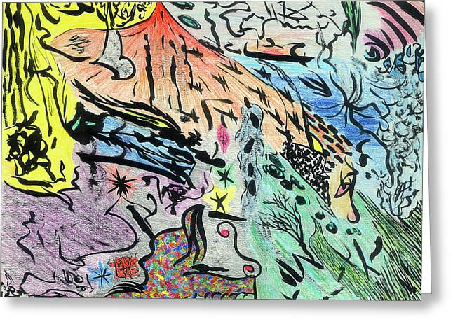 Indian Ink Mixed Media Greeting Cards - Imaginery landscape 1 Greeting Card by Valeria Jye