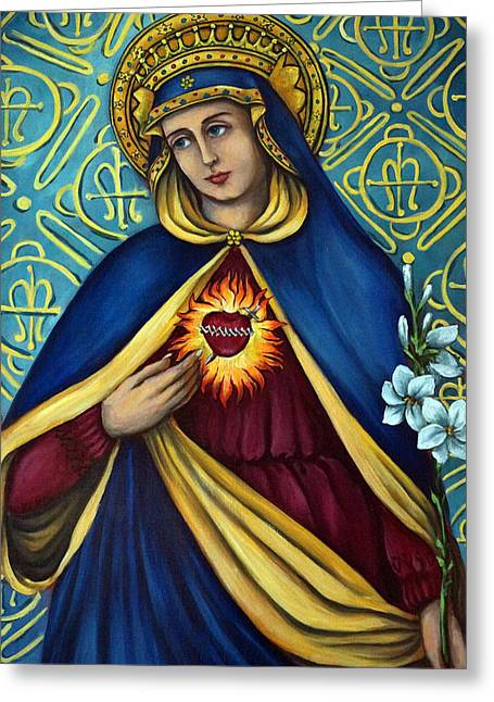 Immaculate Heart Greeting Cards - Immaculate Heart Greeting Card by Valerie Vescovi