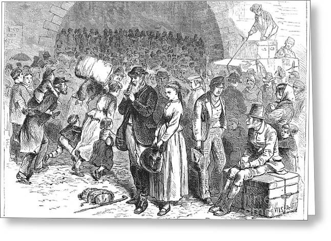 Beach Street Greeting Cards - Immigrants Arriving, 1871 Greeting Card by Granger
