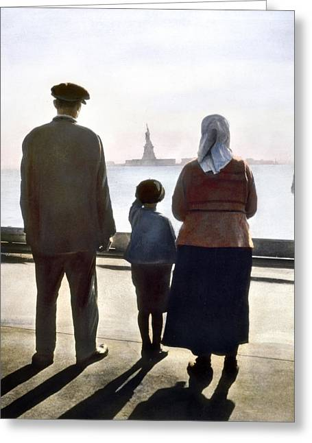 1920 Greeting Cards - Immigrants: Ellis Island Greeting Card by Granger