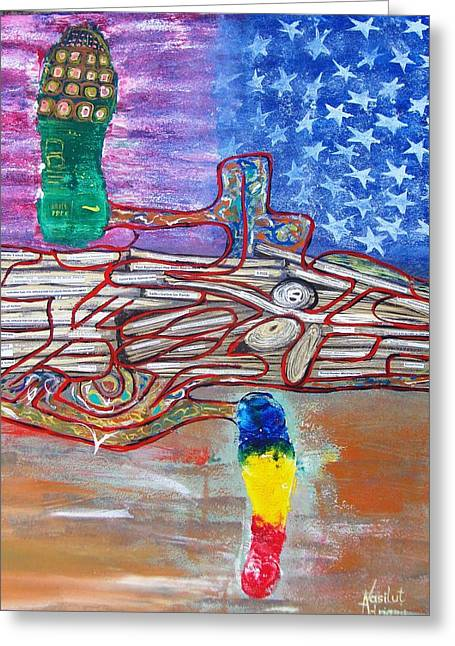 Nike Mixed Media Greeting Cards - Immigration step Greeting Card by Adriana Vasilut