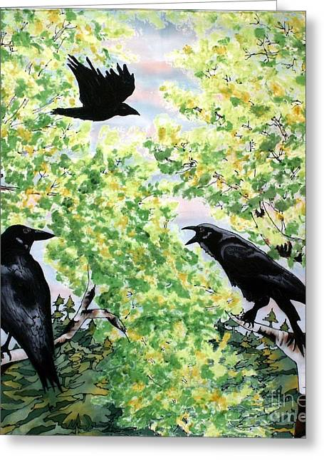 Bird On Tree Tapestries - Textiles Greeting Cards - Imparting Wisdom Greeting Card by Linda Marcille